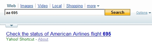Flight Tracking on Yahoo