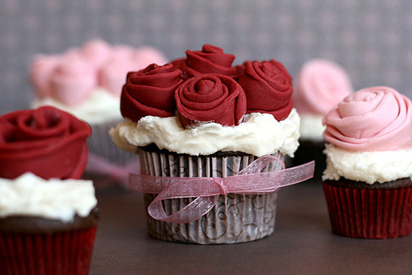 Rose Covered Cupcakes