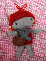RRH with all her goods (lalootka) Tags: bunny toy toys book bottle wolf hare doll basket felt softies collectible fleece redridinghood softtoy fingerpuppet playfood knitwear japanesefabric cospaly lalootka lalootkatoys