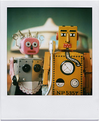 American Robotic (tubes.) Tags: film vintage painting toy polaroid toys tin robot space robots 600 future scifi parody past homage americangothic tc078