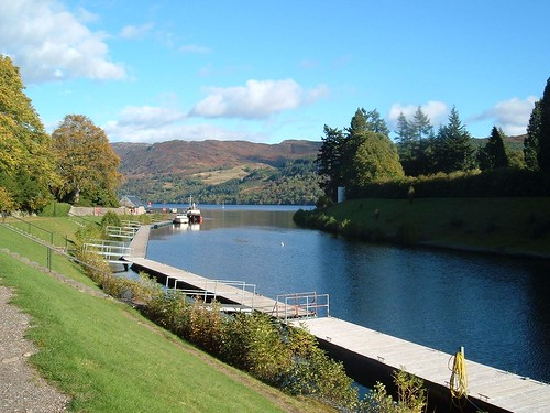 Caledonian Canal enters Loch Ness at Fort Augustus Scotland