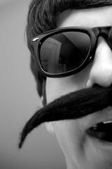 "Day 91/365 ""I'm just a fool..."" (Hunter Wilson) Tags: portrait blackandwhite bw sunglasses self d50 nikon funny nolan april wilson hunter 365 mustache 2008 fool wellstone 365days hunterwilson"