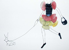 Ready for something big (Elri) Tags: oslo norway painting drawing og dame med veske hundekanin