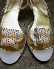 vintage gold studded wedgies shoes.