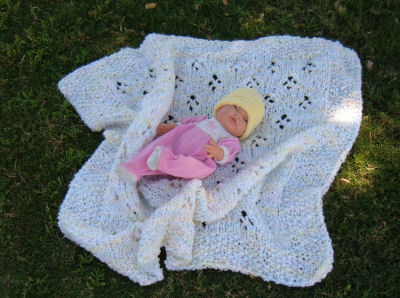 Lacy Tulip Blanket with Model
