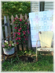 Rustic Garden Setting (Bluebird Becca) Tags: flowers metal garden bucket chair quilt country rustic cottage chic decor prim shabby primitives