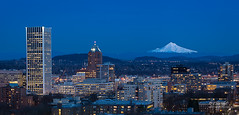 Winter Blues (Eric.Vogt) Tags: blue bluehour city cityscape dusk hood kointower mount mthood oregon pdx portland wellsfargobuilding winter
