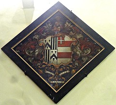 [2525] Beauchief Abbey : Hatchment (Budby) Tags: church abbey memorial heraldry coatofarms arms sheffield funeral funerary beauchief southyorkshire heraldic funereal hatchment
