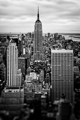 Empire State Building Miniature (Philipp Klinger Photography) Tags: new york city nyc windows bw usa white ny black building water lines architecture facade america skyscraper photoshop river island us cityscape state theatre manhattan district centre united unitedstatesofamerica north shift center line stadt esb empire hudson states rockefeller amerika tilt radiocitymusichall philipp ts antenna topoftherock 30rock klinger nordamerika dcdead vanagram