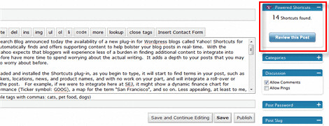Yahoo Launches Shortcuts Plugin For Wordpress Blogs : Very Cool!