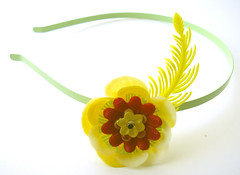 Green, Yellow and Red Vintage Flowers Headband