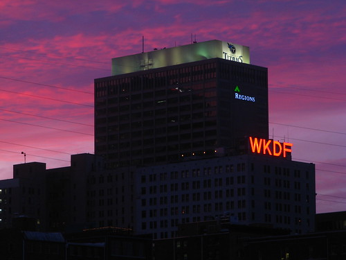 Regions Bank / Stahlman buildings - 14 minutes after sundown