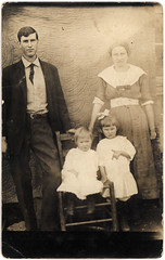 vintage family: great grandparents and children