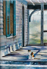 Still Waiting Prismacolor (gossamerpromise) Tags: old blue building art pencil cat painting artist drawing porch calico prismacolor coloredpencil straycat dariengeorgia