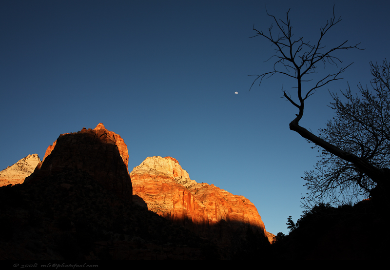 zion canyon sunset moonrise springdale utah photofool
