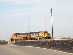 Idling at the top of the hump. The BNSF Railway Corwith Yard. Chicago Illinois. March 2008.