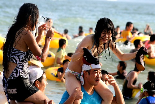 Haeundae Beach . Chickenfight