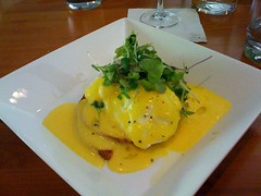 eggs benedict on smoked trout cakes with lemon hollendaise (rabidscottsman) Tags: food fish yellow wisconsin breakfast yummy lemon yum egg eat brunch seafood trout yolk eggsbenedict smoked iphone eggyolk smokedfish smokedtrout downsville hollendaise downsvillewisconsin