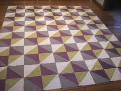 Layout of the hourglass quilt (Blue is Bleu) Tags: white green grey purple quilt dots hourglass halfsquare