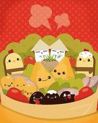 Chipotle Burrito (roseycheekes) Tags: food hot cute chicken cheese illustration corn bean mexican adobe kawaii illustrator spicy burrito foody