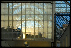 glass (Ian's Art....) Tags: windows sunset urban abstract lines reflections sussex worthing saturated outdoor patterns curves shapes mypick iansart abigfave shiftn