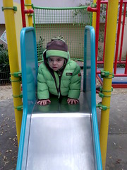 Playing on the Slide in the Park