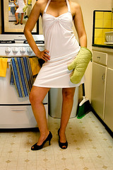 The Stepford Wife (*Tiny Dancer*) Tags: blue selfportrait green me kitchen yellow illustration bride oven wife heels stepford broom expectations commentary caretaker ovenmit suburbanhousewife