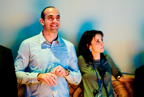 Loic and Geraldine listening to talks at Le Web