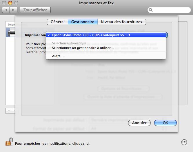 Gutenprint sous Mac OS X