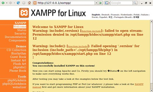 XAMPP on the Asus Eee PC