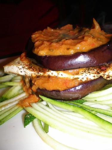 grilled egpplant & tofu tomato basil stacks