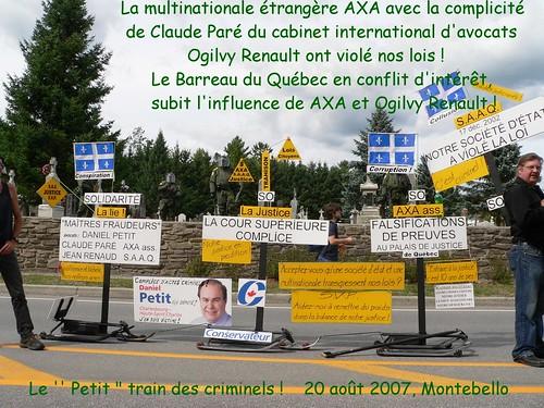 Le Barreau du Québec en conflit d'intéręt !  Ogilvy Renault et AXA assurances sont de généreux donnateurs ŕ la Fondation du Barreau !