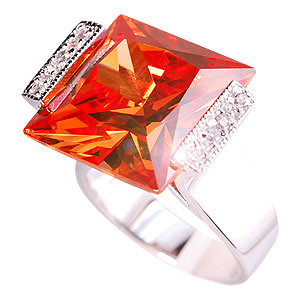 Golden Cubic Zirconia Square Sterling Silver Ring