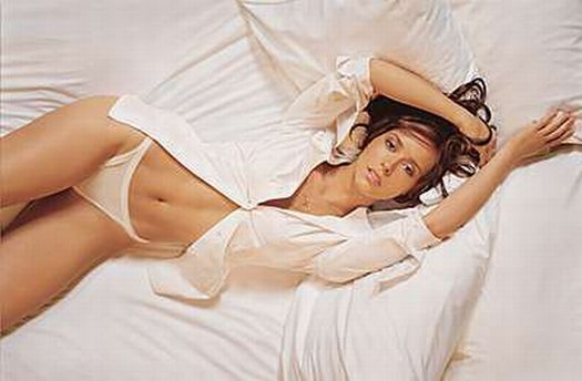 lingerie underwear jennifer love hewitt white dress shirt white ribbed cotton string panties on bed
