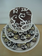Art Nouveau Wedding Cake Tower (cupcaketastic) Tags: wedding brown white black art cake cupcakes purple chocolate tiger australia melbourne nouveau