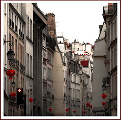 Rita Crane Photography: France / Paris / marais / street / vintage / buildings / beautiful / Rue du Temple, Paris (Rita Crane Photography) Tags: urban blackandwhite bw paris france monochrome architecture noiretblanc streetlamps stock chinesenewyear explore chapeau rue soe lunarnewyear happynewyear urbanlandscape lanternes stockphoto squarephoto 500x500 redlanterns visit75003 asmallworld internationalcity 123sepia ruedutemple mywinners 123blackandwhite rueparisienne paris75003 wwwritacranestudiocom paristumemanques auspiciousbeginnings ancientchinesecalendar yearofthewoodmouse pariscultureisdiverse