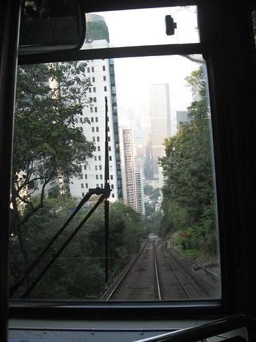 Heading up Victoria Peak by tram