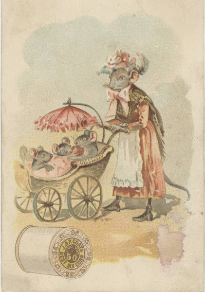 mother mouse pushing babies in pram