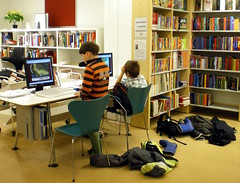 In our local library (totinkoti) Tags: boys finland children helsinki library internet computers books clothes rubberboots kirjasto lapset schoolbags pojat