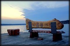 Waverly Beach Bench ($PHPhoto) Tags: wood sunset cloud sun bench hdr picnik beginnerdigitalphotographychallengeswinner beginnerdigitalphotographychallengewinner