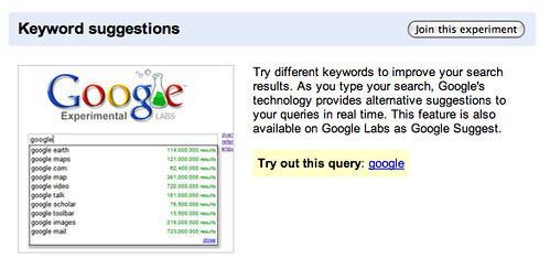 Keyword Suggestions Google Experiment
