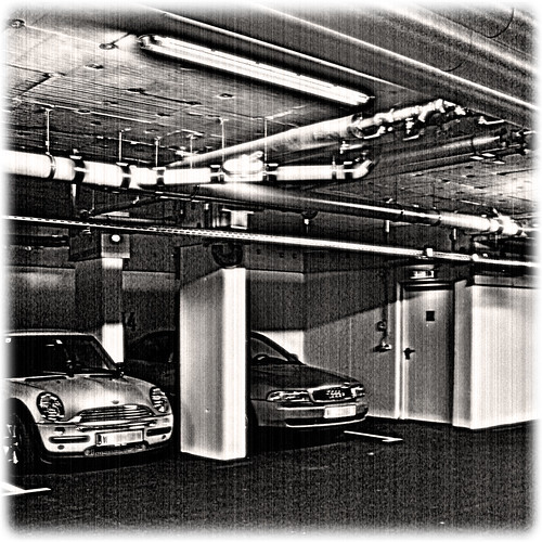 Garage with Audi and Mini
