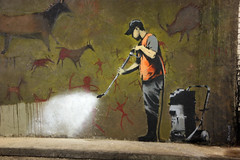 Banksy Cleans Up - Cave Painting (greenwood100) Tags: england london art graffiti stencil funny artist britain pavement satire banksy tunnel spray cleaning sidewalk waterloo irony british cave ironic lambeth highest viewed highpressure pochoir mostviewed cavepaintings satirical jetwash localgovernment hivisjacket localcouncil localauthority jetspray cansfestival funnylondonstuff typicalbanksyhumour upcoming:event=572837 robingunningham exitthroughthegiftshop welcomeuk