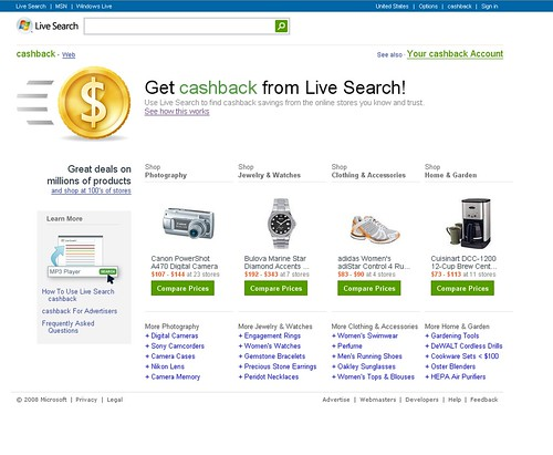 Microsoft Live Search Cash Back Program