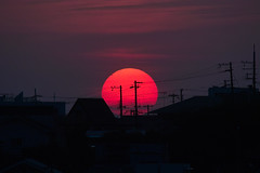 Touch Down (halfrain) Tags: city sunset sky sun japan town bigma sigma 500mm foveon 50500mm sigma50500mm sd15