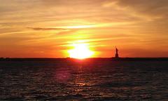 Red Hook Sunset (kriegs) Tags: nyc newyorkcity sunset sky clouds hudsonriver statueofliberty cellphoneshot htcthunderbolt