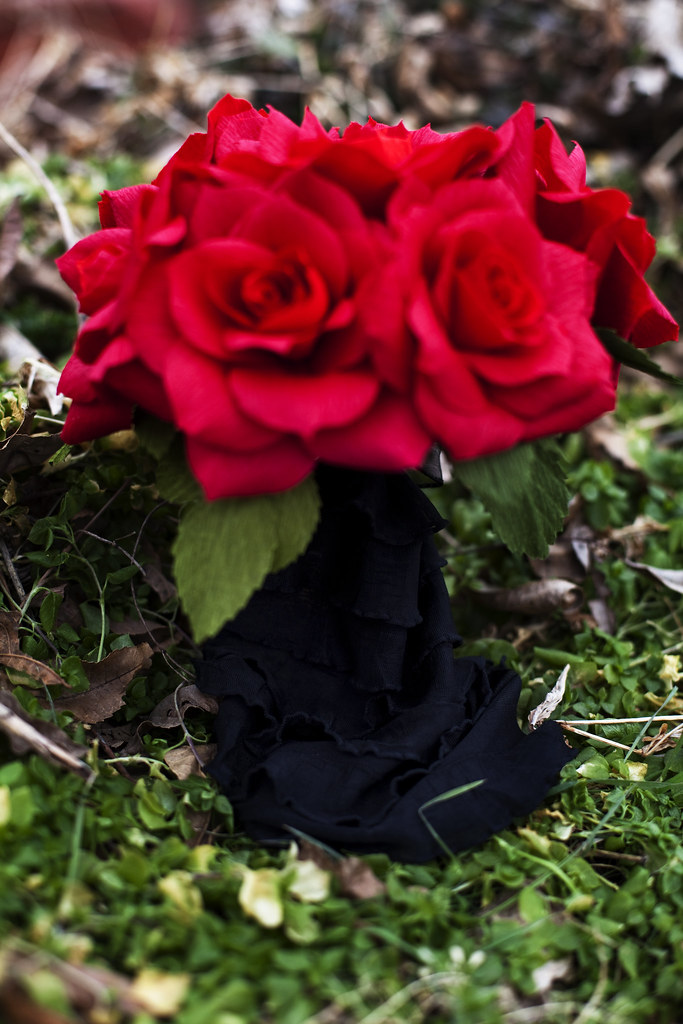 petite paper flower wedding bouquet - red roses