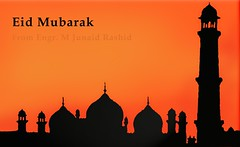 Eid Greetings (Eid Mubarak e-Card by Engr. Junaid Rashid)   (Engineer J) Tags: pakistan red holiday illustration minaret eid junaid mosque m holy card greetings domes greeting lahore sama fitr rashid fasting ramazan ecard hig mubarak   satta eed uet engr badhshahi