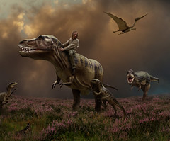Cretaceous Dreams (Mattijn) Tags: danger cat dinosaur surreal adventure scifi photomontage pino sculptures mattijn trex amersfoort tyrannosaurus magicrealism cretaceous albertosaurus deinonychus dierenparkamersfoort pterodactylus bookofdreams purplemoorgrass wanderingthepurplemoor