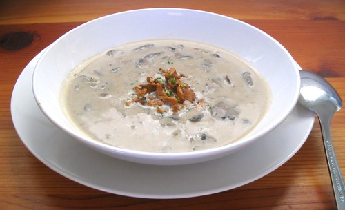 Mushroom Soup with Sauteed Chanterelles